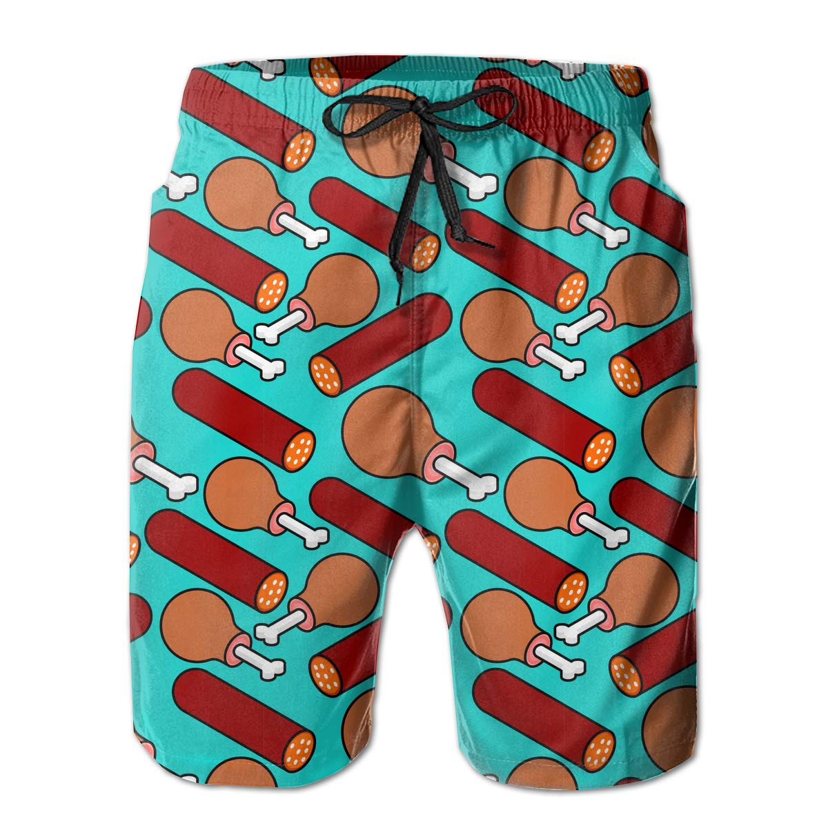 UHT28DG Piece of Beef and Sausage Pattern Mens Board//Beach Shorts Slim-Fit Swimming Shorts