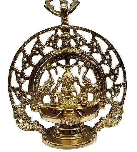 AKP Antique Decor Brass Hanging Gaja Laxmi Lamp with Chain