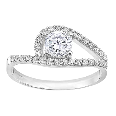 Citerna Silver Cz Engagement Ring with Cz shoulders wLSg5