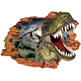Omiky® 3D Broken-wall Background Wall Sticker,Removable Acrylic Murals Art Decal (Two Dinosaurs)
