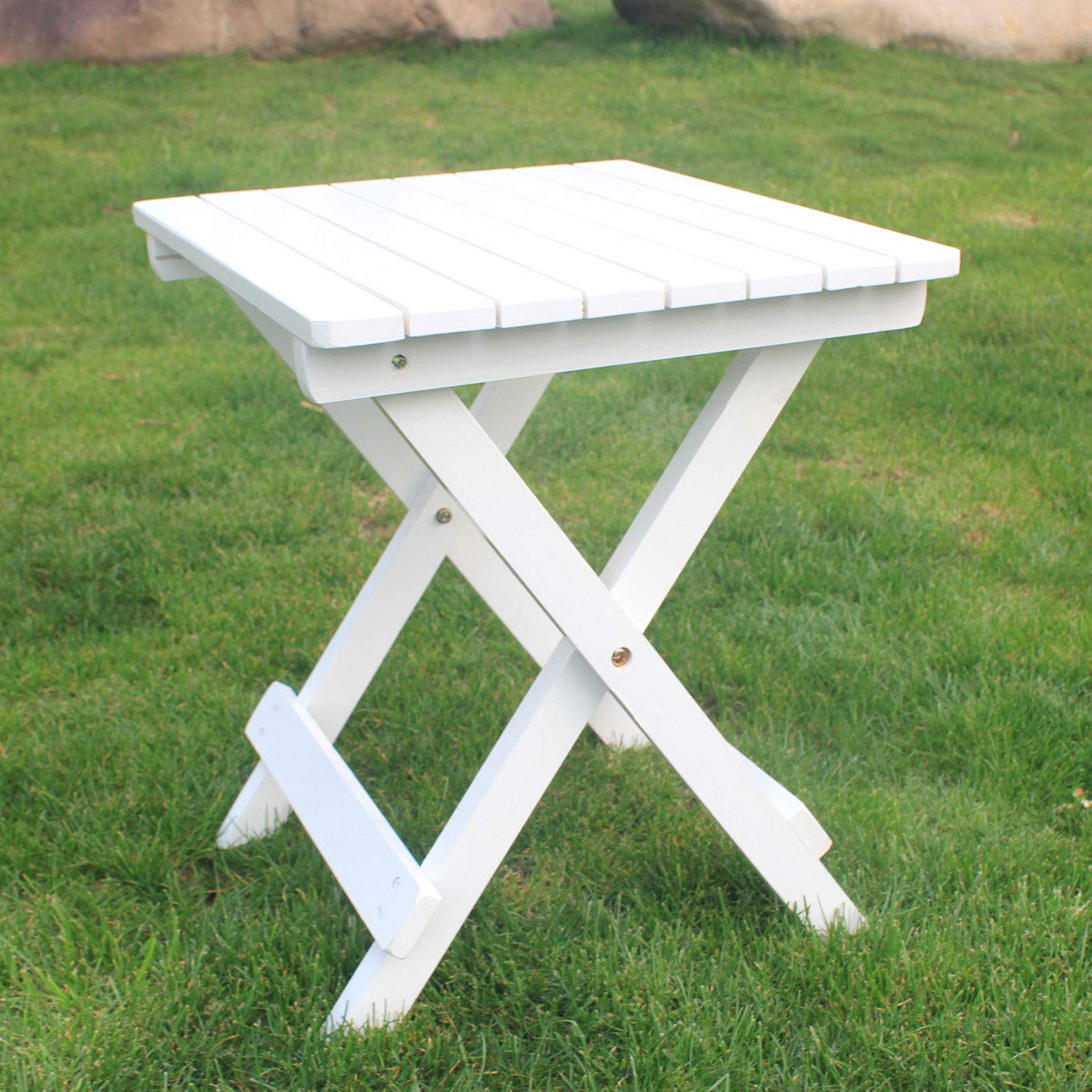 SFYLODS White Outdoor Painted Wood Fashion Adirondack Side Table Patio Deck  Garden Furniture