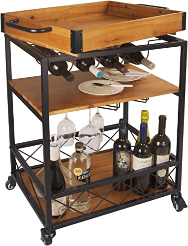 LEVE 3 Tiers Solid Wood Kitchen Serving Cart Rolling Bar Buffet Cart with Bottle and Goblet Holder 24 x18
