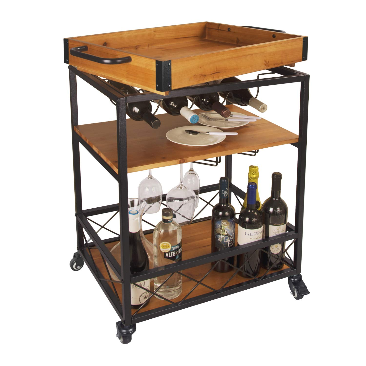 "LEVE 3 Tiers Solid Wood Kitchen Serving Cart Rolling Bar Buffet Cart with Bottle and Goblet Holder 24""x18"""