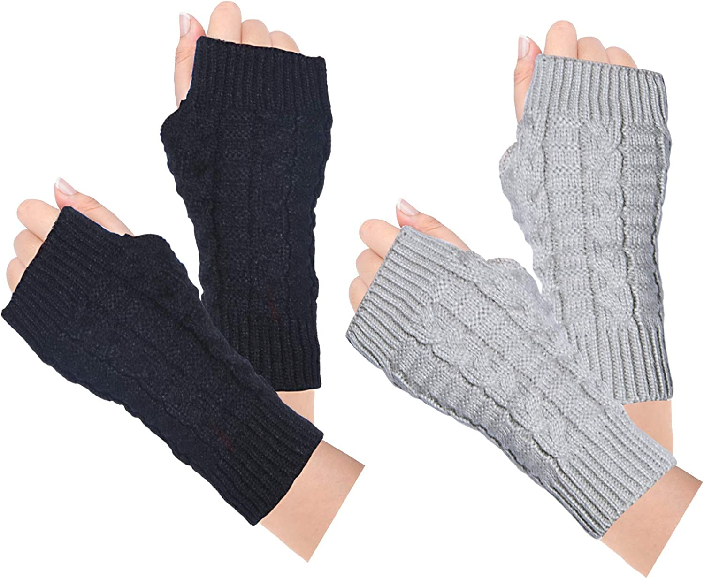 Loritta 2 Pairs Womens Fingerless Gloves Winter Warm Knit Crochet Thumbhole Arm Warmers