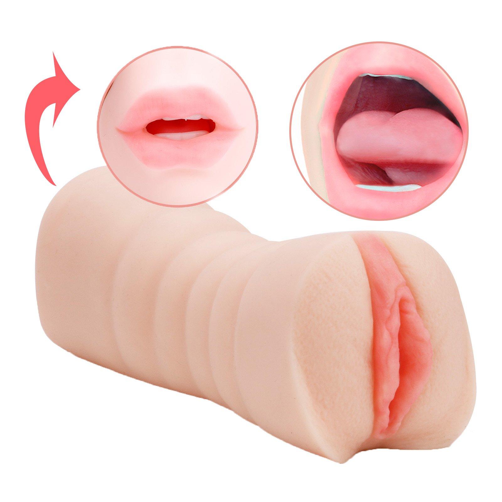 Male Masturbators, Riodong Pocket Pussy Blow Job Stroker Vaginal Oral Sex Toys for Male Masturbation (flesh)