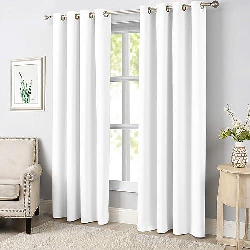 MODERNOVIA White 52×84 Inch Room Darkening Curtain Solid Grommet Drape Review