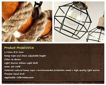 ZHUYANPENG Araña de madera Cuerda 3-Flames Loft Lámpara Vintage Lámpara colgante Industrial Rústico Nostálgico Retro Country House Lámpara colgante Luz de ...