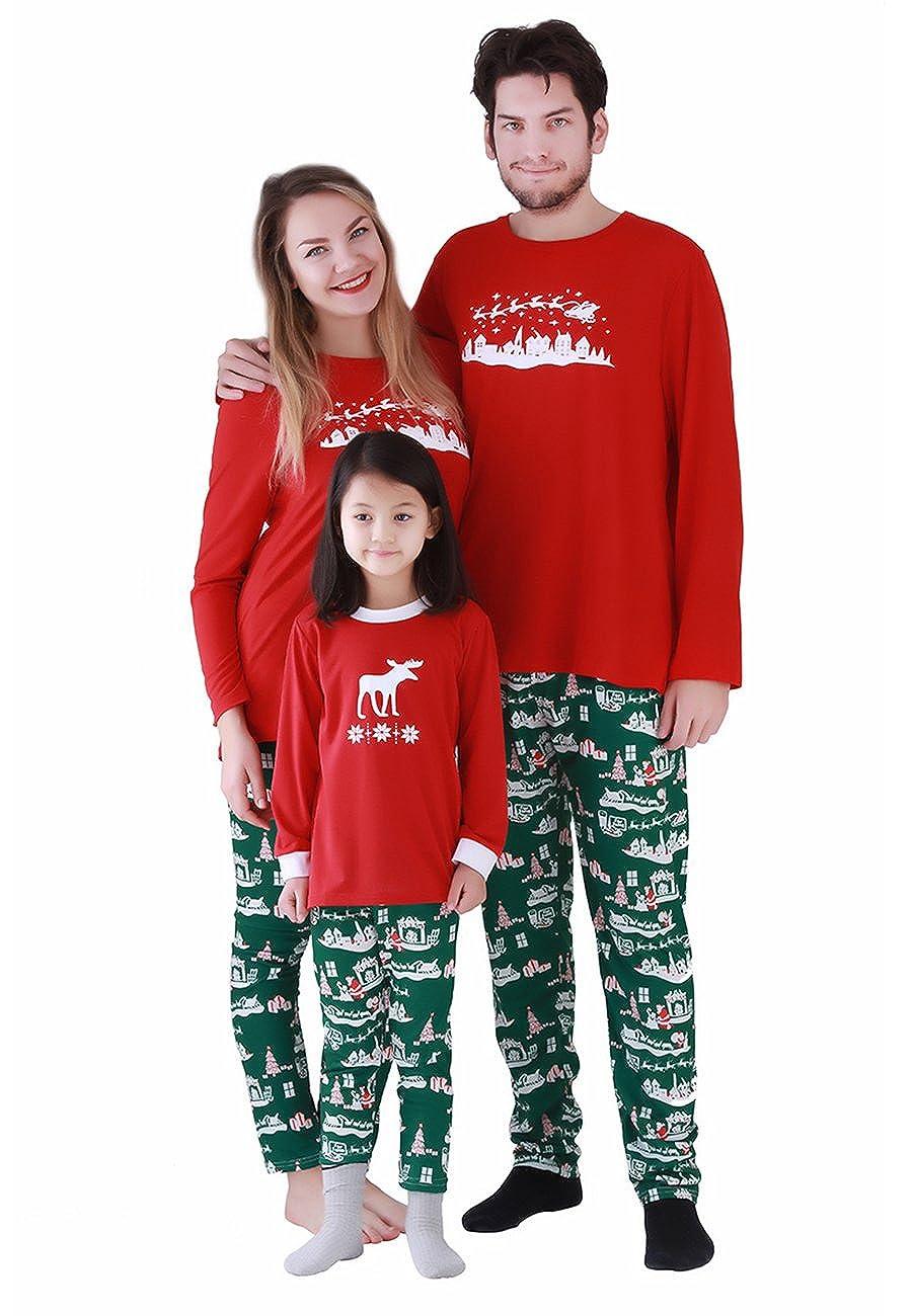 OMZIN Fashion Family Matching Christmas Sleepwear Nightwear Homewear Pajamas Set