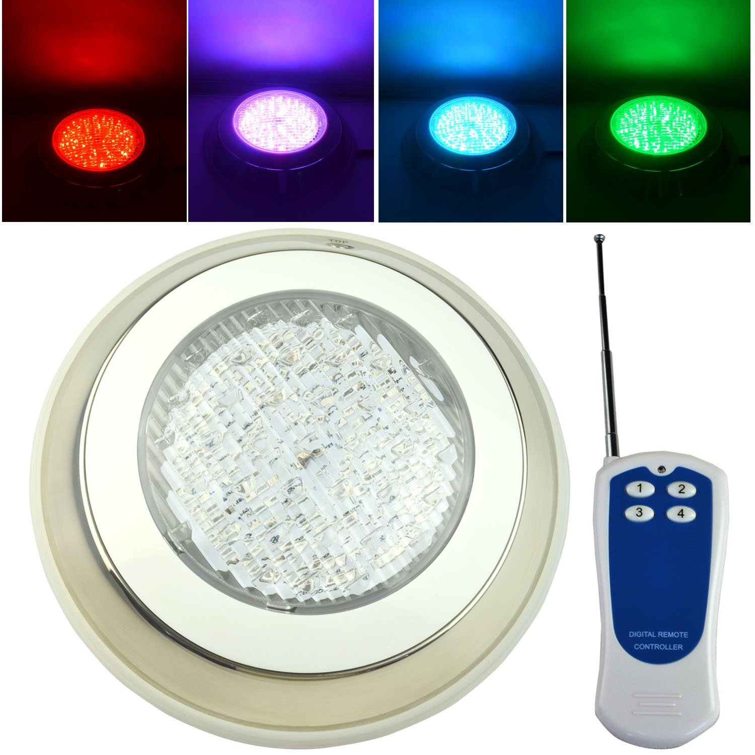 Aliyeah 18W 252 leds 12 Volt RGB Color Changing LED Underwater Light with Remote, Wall Mounted with 7ft Power Cord, Stainless Steel IP68 Waterproof (EXPRESS Shipping)