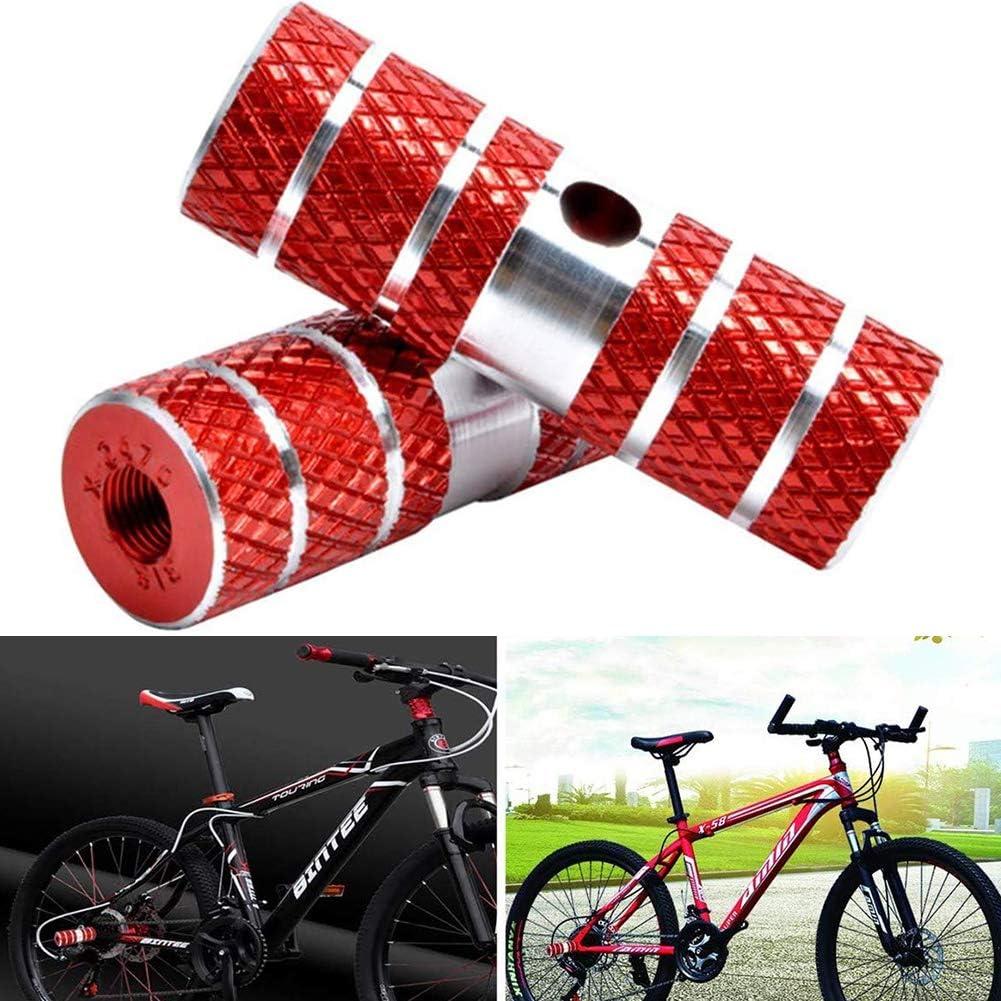 BESTZY 2Pcs Clavijas de Bicicleta, Aluminio Pie Stunt Pegs para Bicicleta Delantero y Trasero Pedal Reposapiés Eje Bicicleta de Pie Pegs, Rojo