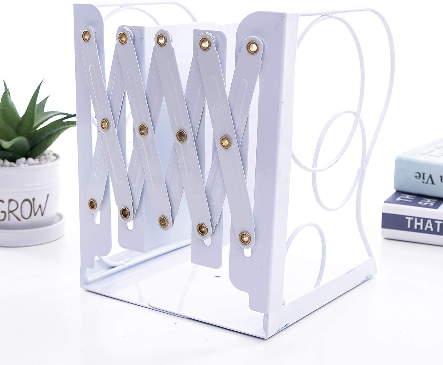 YIHUI Book Ends,Decorative Adjustable Book Ends for Shelves Heavy Books,Nonslip Book Stander for Desk, Shelf, Office, Stationery Kids Gift (Round White)