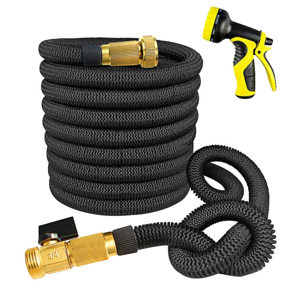 World Class Expandable Garden Hose 50 FT - Very Sturdy With Brass Fittings, High-Pressure Hose With No Kinks, This Expanding Flexible Black Water Hose Has a 9 Function Spray Nozzle And Storage Bag.