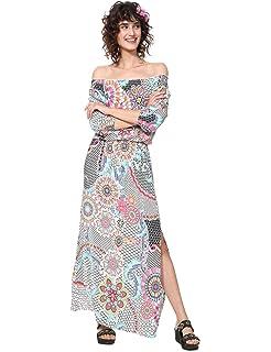 affa9dfb1576c3 Desigual Robe Longue Femme Vest Dera 19SWVW28 38 (s) Blanc: Amazon ...