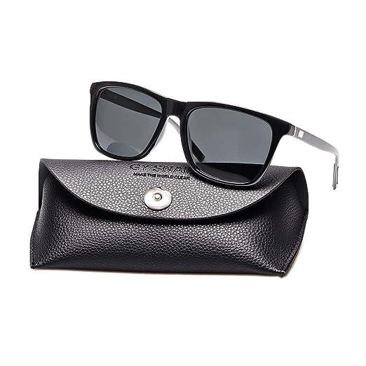 fea2229ce9 Amazon.com: GYsnail Square polarized Sunglasses for Men Oversized,Retro Magnesium  Aluminum Sun Glasses Women (Black lens/Grey temple): Clothing