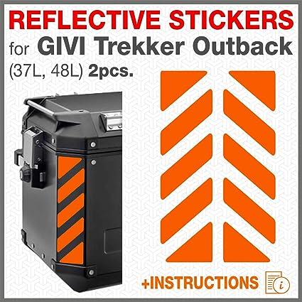 2pcs Adhesivos Reflectantes para GIVI Trekker Outback 37L 48L Bolsas Laterales (Naranja)