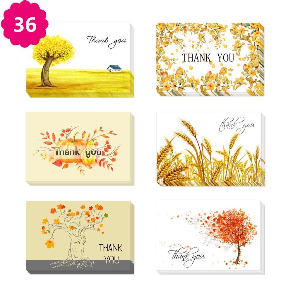 Morkka 36 Pack Kraft Paper Thank You Cards Greeting Card Envelopes and Stickers for Wedding Graduation Men /& Women Sympathy Leaf