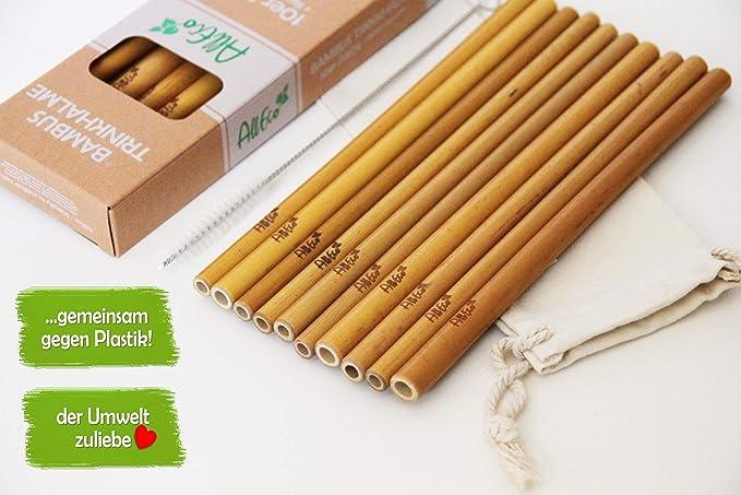 Alleco Bambus Strohhalm Wiederverwendbar 10er Set Reinigungsburste