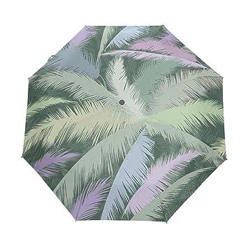 jstel Vintage Palm Tropical hojas al viento UV paraguas Auto abierto cerca 3 plegable Golf fuerte