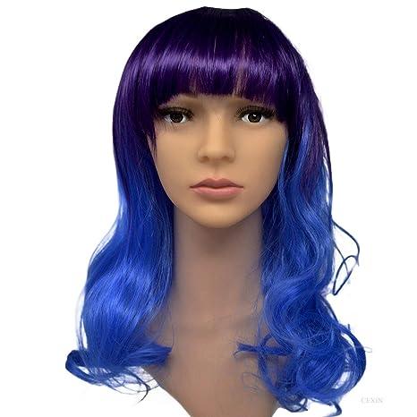 Mujeres Sexy Color Gradual Púrpura Largo Rizado Cosplay Peluca con Gorra