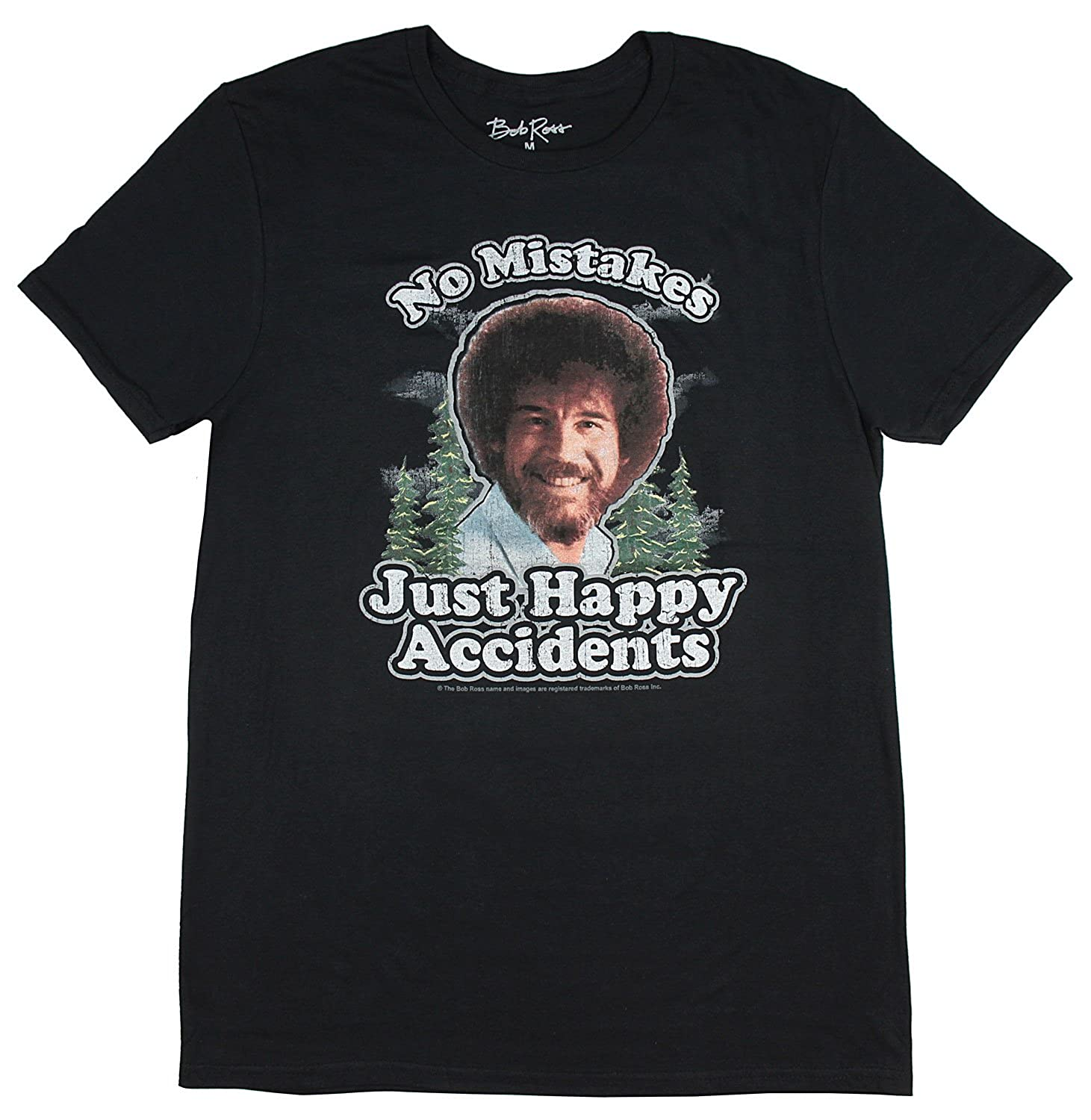 b871e3866d9 Amazon.com  BobRoss Mens Distressed No Mistakes Just Happy Accidents T-Shirt   Clothing