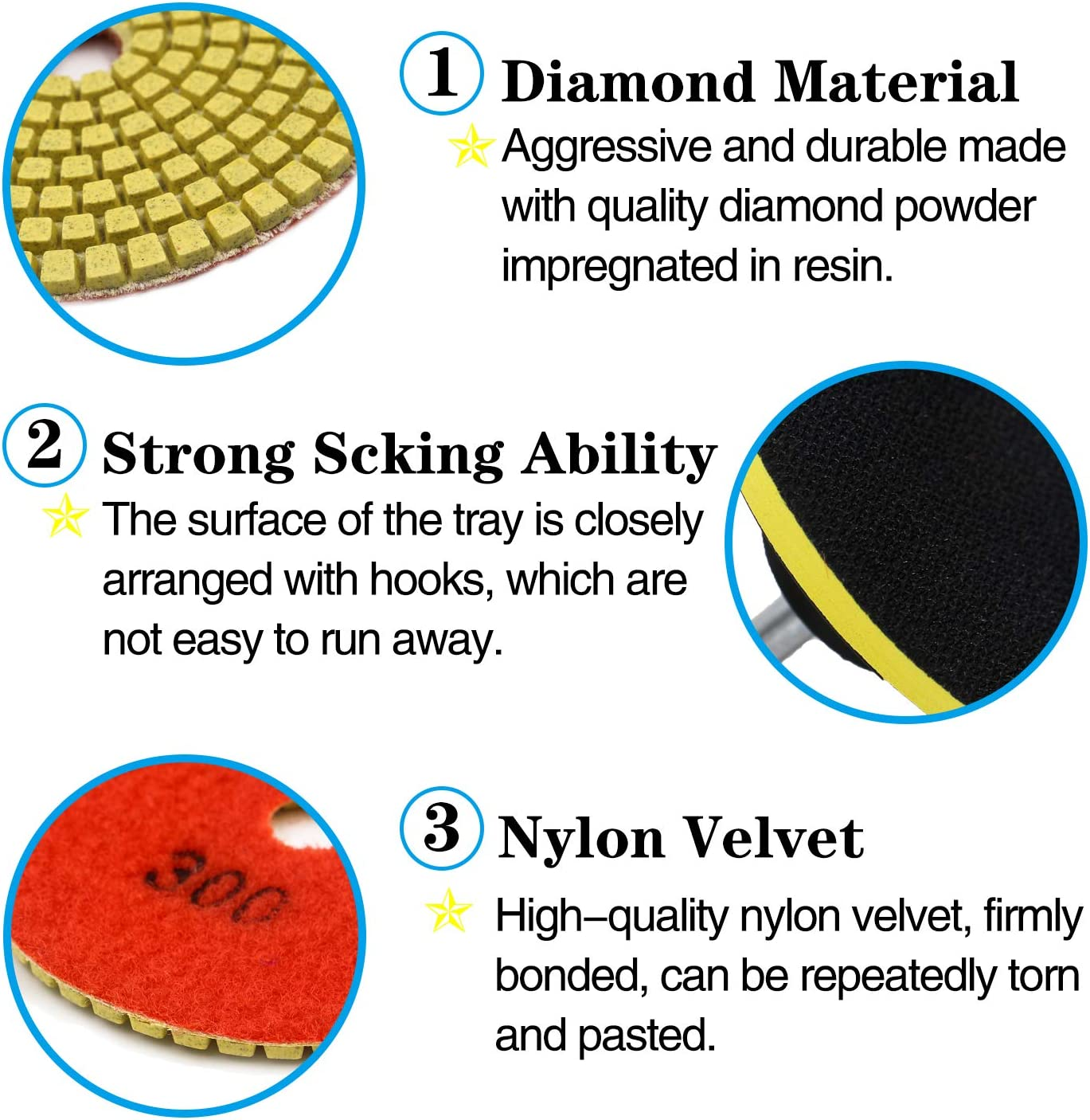 Tanzfrosch 4 inch Diamond Polishing Pads Set Wet//Dry Polishing Kit 10pcs 50#-3000# Grit Pads with 2pcs Hook and Loop Backer Pads for Granite Stone Concrete Marble Floor Grinder or Polisher 12 Pack