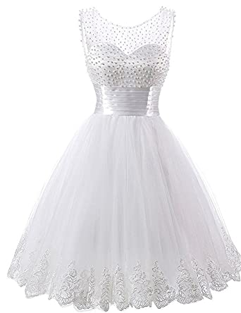 Victoria Prom Cute Beads Tulle and Lace Birthday Party Homecoming Pageant Dresses Ivory us2