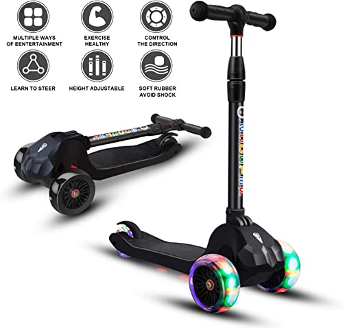 Scooter for Kids Toddlers Scooters 3 Wheels Kick Scooter Lean to Steer with PU Flashing Wheels Wide Deck Scooters for Boys Girls Children from 3 to 9 Year Old