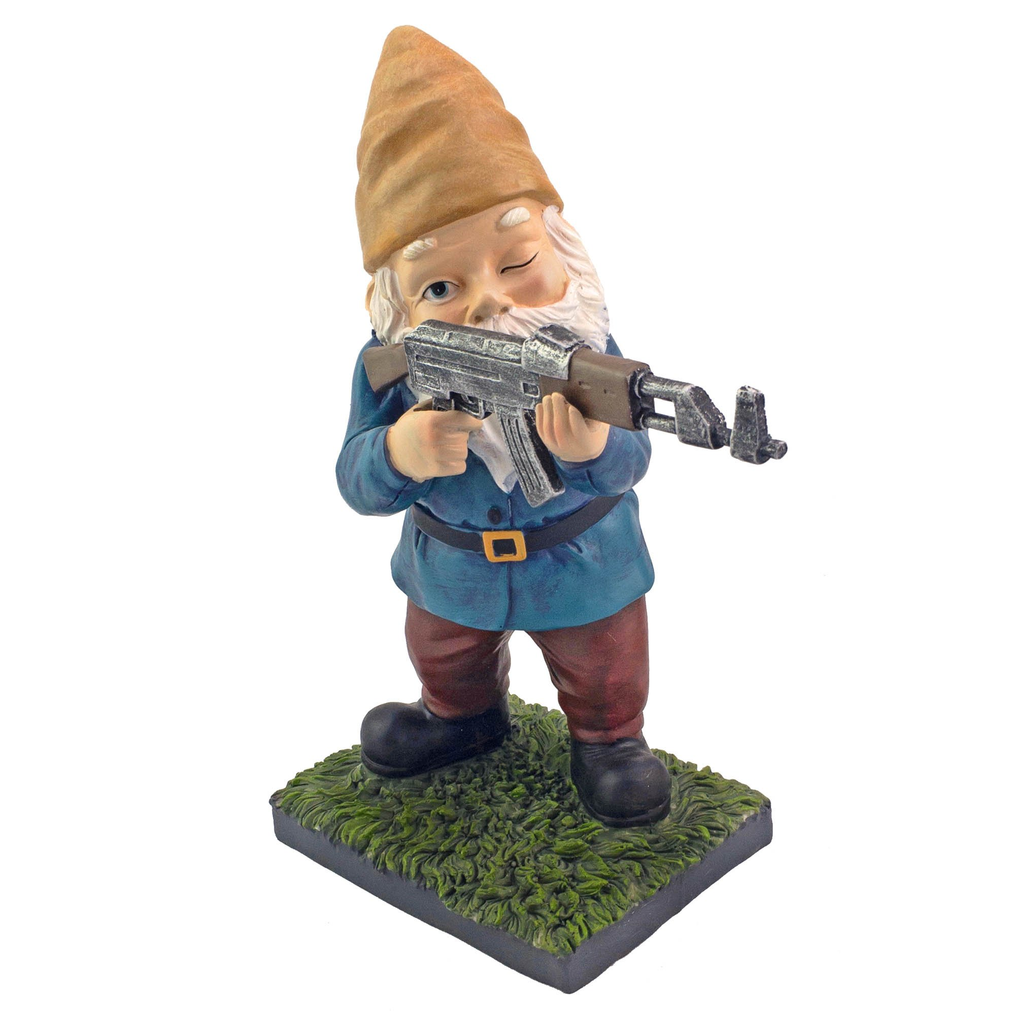 Military Garden Gnome With An AK47   Funny Army Statue, Perfect For Gun Lovers, Military Collectors, Combat Enthusiasts & Army Men   Indoor & Outdoor Lawn Yard Decor (Standing, Traditional)