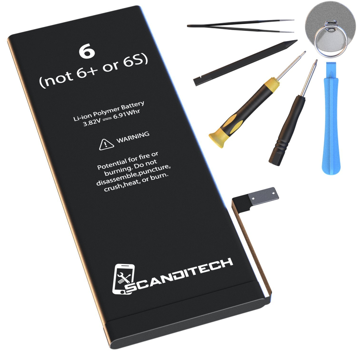 ScandiTech Battery Model iP6 (not 6+ or 6S) - Replacement Kit with Tools, Adhesive & Instructions - New 1810 mAh 0 Cycle Battery - Repair Your Phone in 15 min - 1 Year Warr by SCANDITECH