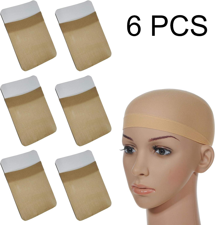 Gorros de Peluca de Nylon Elástico, Casquillo para Pelucas, Nailon, Estiramiento Gorra Peluca, Redecillas de Pelo Peluca de Nylon para Mujeres y Hombres(Beige, 6piezas)