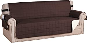 "H.VERSAILTEX Sofa Slipcover Reversible Couch Cover Foam Quilted Sofa Covers for Dog Water-Repellent Furniture Protector with Side Pocket Seat Width up to 78"" (XL Sofa, Brown/Beige)"