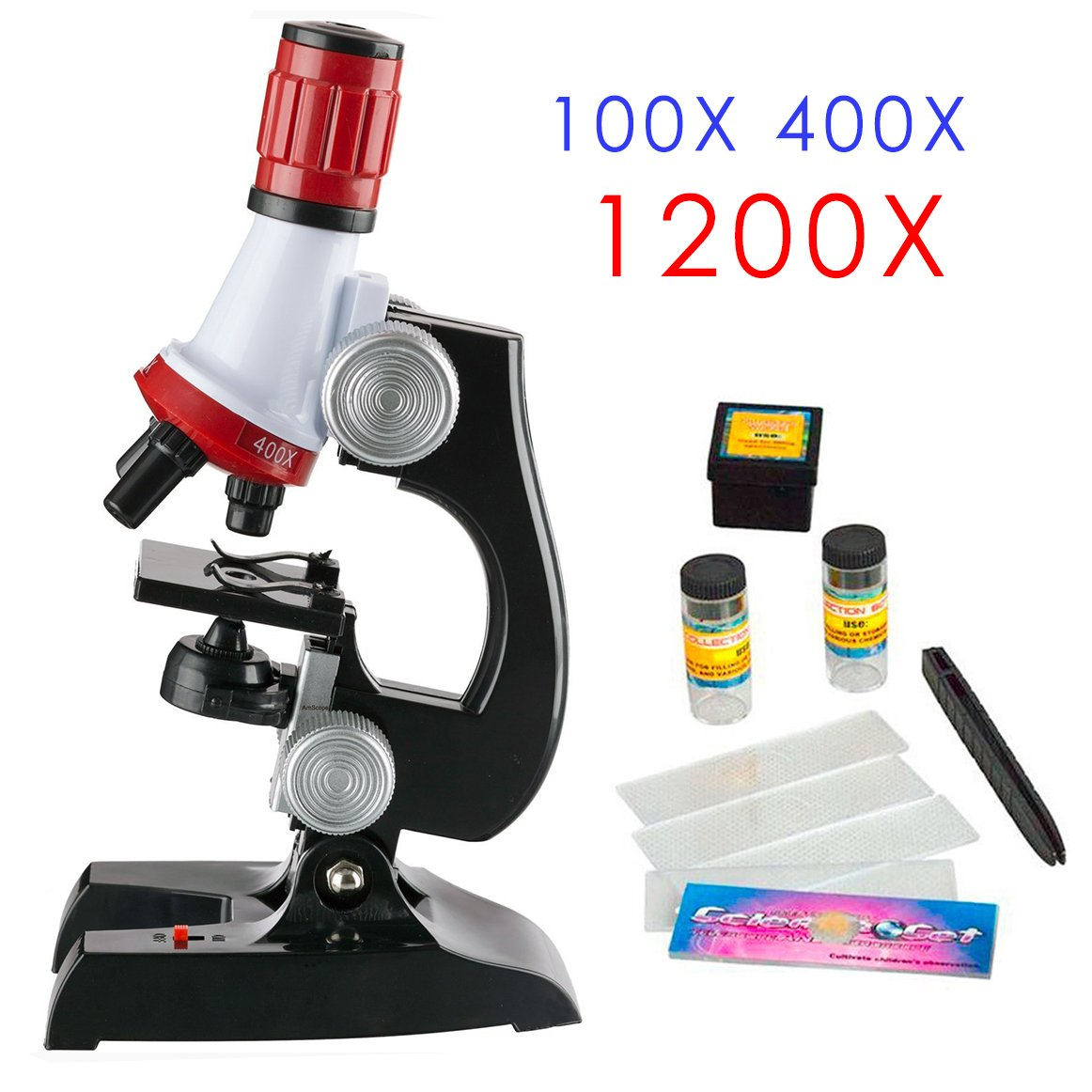 Kids Microscope Science kit with Slides Educational Beginner Microscopes Kit with LED 100X 400X and 1200X Magnification for kids Students (Microscope)