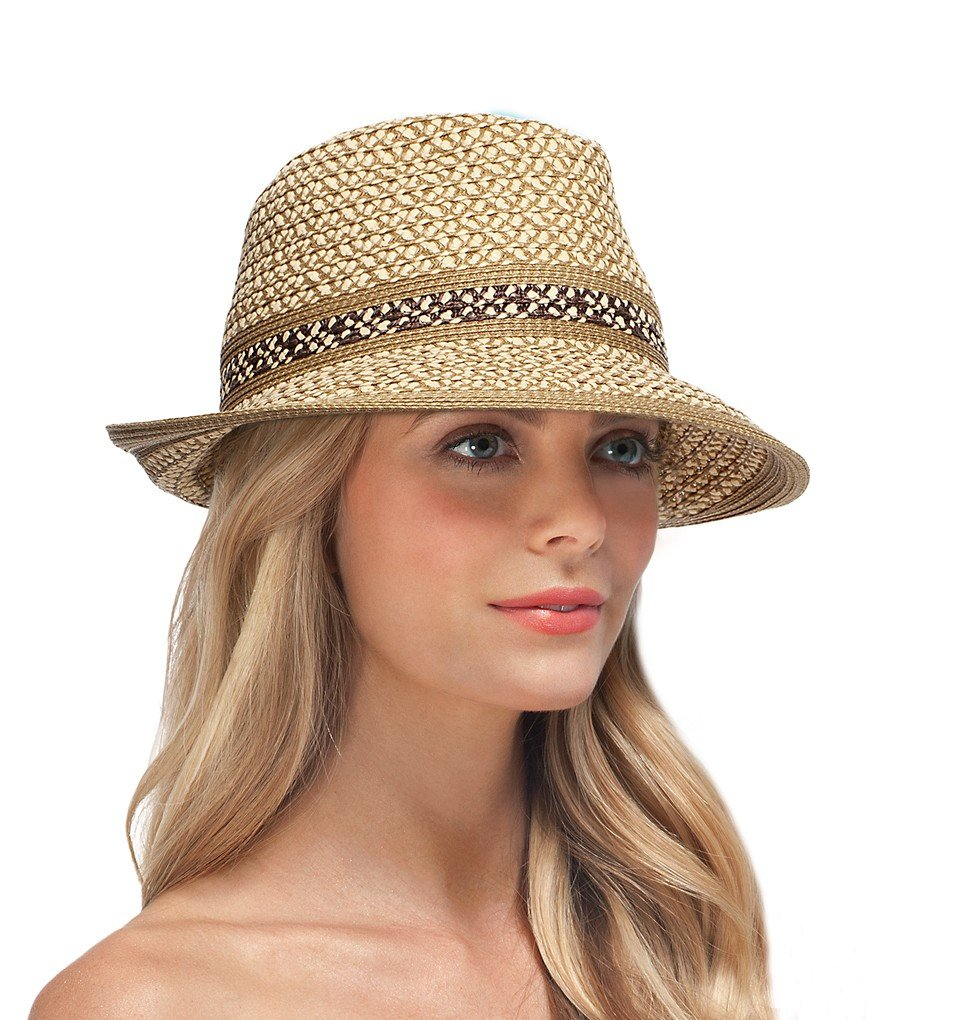 Eric Javits Luxury Fashion Designer Women's Headwear Hat - Big Deal - Peanut