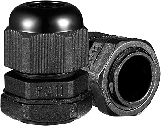 w// Lock-Nut /& Gasket 100 Pcs PG11 Black Nylon Waterproof Cable Gland 5-10mm Dia
