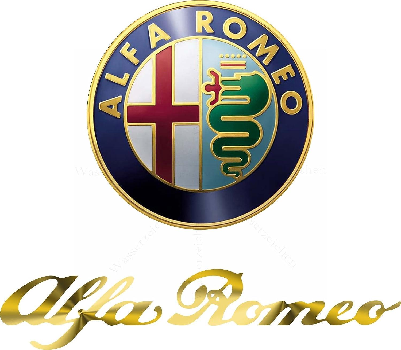 25cm Aufkleber Folie Wetterfest Made In Germany Kompatibel Für Alfa Romeo Logo Schrift Gold Ad16 Uv Waschanlagenfest Auto Sticker Decal Profi Qualität Farbig Digital Schnitt Auto