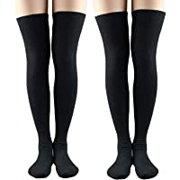 Womens Over Knee Socks Extra Long Thigh High Stockings Cosplay Solid Color
