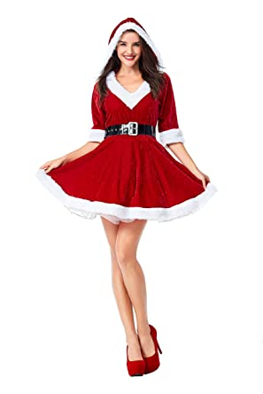 c293dfa3c Amazon.com  Mrs. Claus Costume for Women Christmas Santa Dress with Hooded  Red Velvet Outfits  Clothing