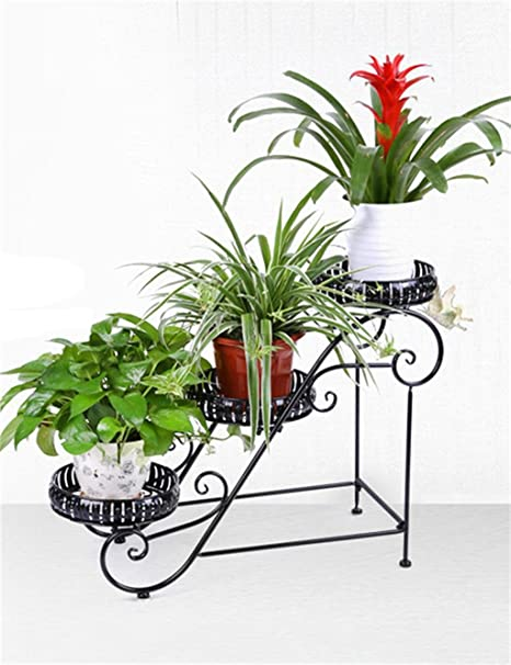 Maceta estantería jardín hierro 3 pisos piso Rack de estante, para macetas, flores de maceta para balcón, sala de estar, soporte de plantas en interior: Amazon.es: Hogar