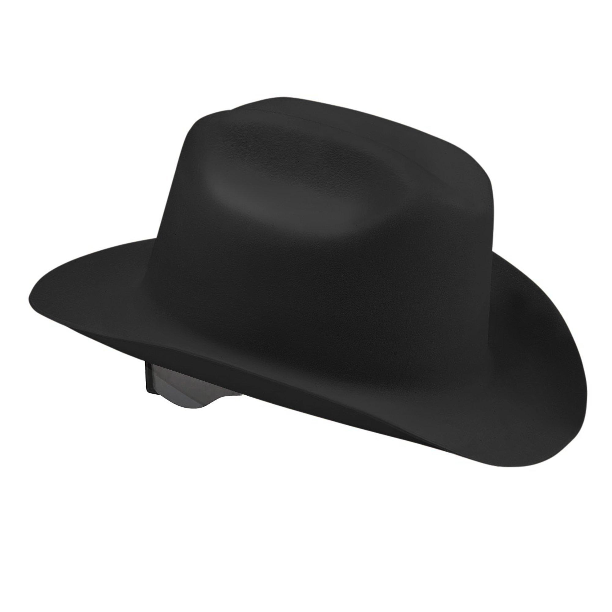 Jackson Safety Western Outlaw Hard Hat (17330), Wide 360-Degree Brim, 4-Pt. Ratchet Suspension, Black, 4 Hats / Case