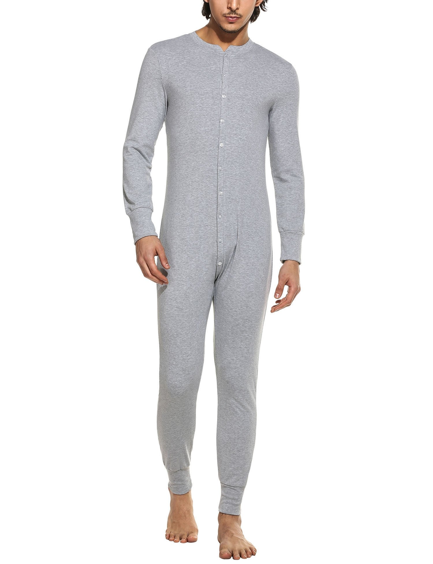 HOTOUCH Mens Thermal Underwear All In One Union Suit/Thermal Body Suit Light Gray M by Hotouch