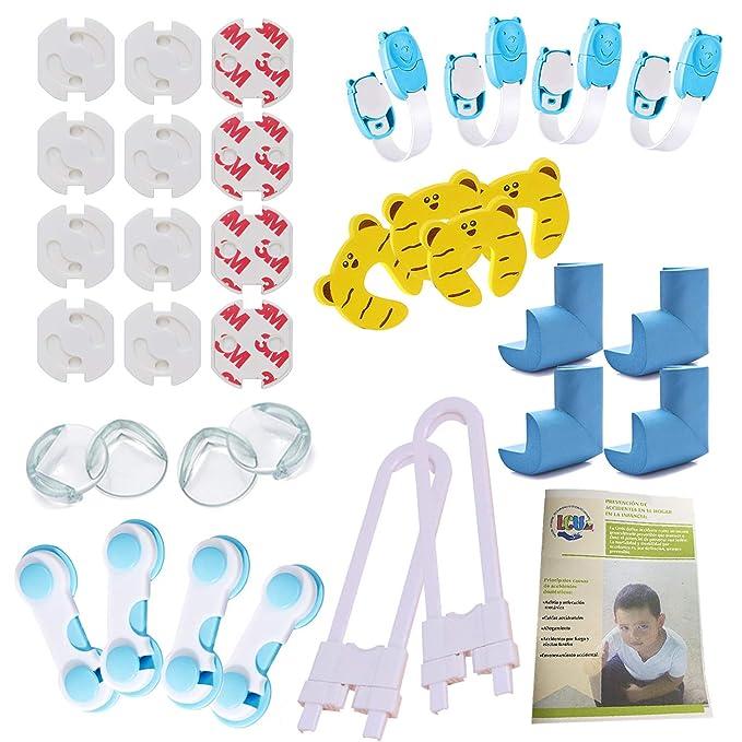 LCV™️ Kit de Seguridad para Bebé en Casa - 35 Piezas | 12 Protectores de Enchufes para Bebés, 8 Protector de Esquinas, 10 Cerraduras para Armarios y ...