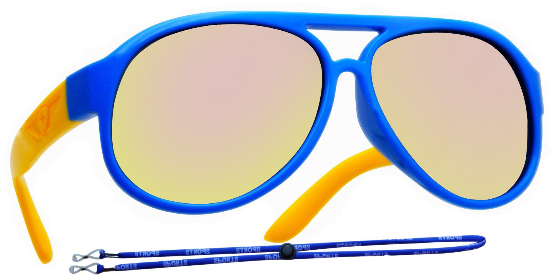 Coolsome Kids Rubber Flexible Polarized Aviator Sunglasses Boys Girls Age 3-9 Years (Mirror Blue)