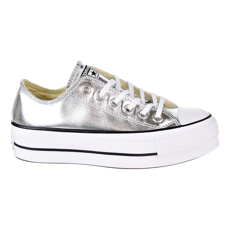 Converse Women's Chuck Taylor CTAS Lift Ox Canvas Fitness Shoes, Silver (SilverBlackWhite 050), 5.5 UK
