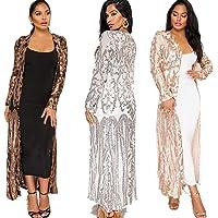 Aidear Women's Sequin Ankle Length Sparkle Cardigan Open Front Coat Dresses