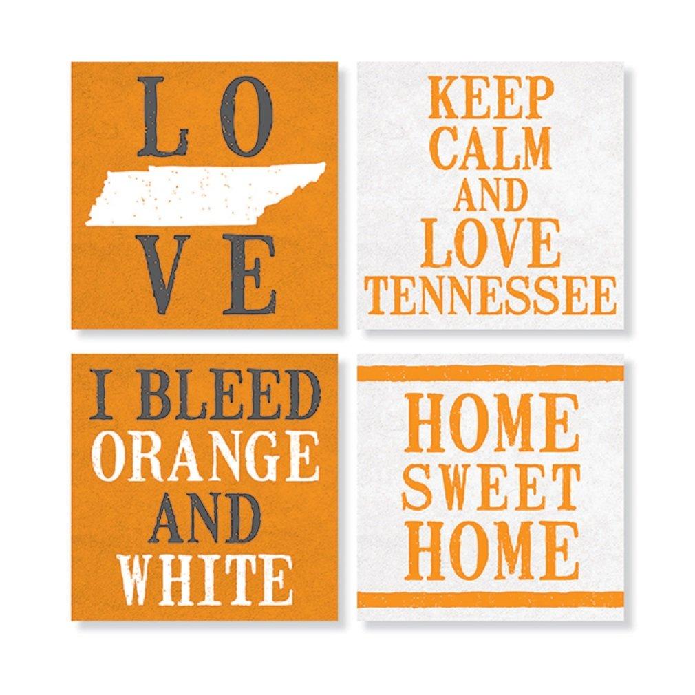 Carsonホームアクセント4炻器テネシーHouseコースターのセット、オレンジとホワイト   B075WN26PQ