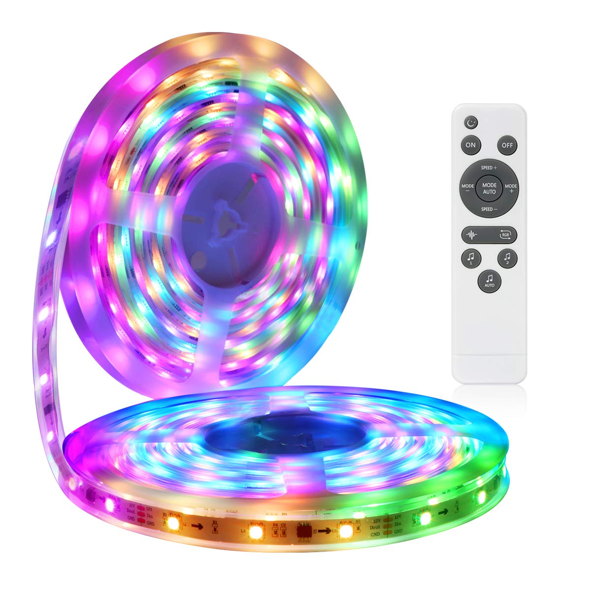 LED Strip Lights More Than 80 Kinds of Modes Music Activated Rainbow Lights 32.8ft 10m IP65 Waterproof LED Light Strip 5050 RGB LED Strip with RF Controller by DotStone
