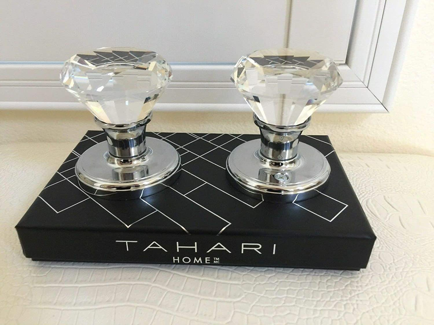 TAHARI HOME Set of 2 Door KNOBS Pull Mirror Crystal Glass Diamond Design