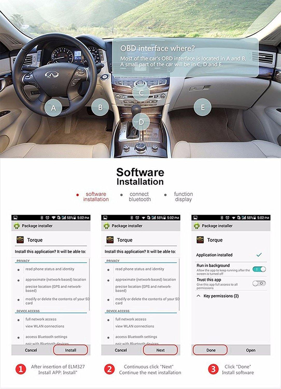 schwarz Konnwei GZCRDZ KW903 Mini Bluetooth 4.0 drahtlose OBD-II Auto Auto-Diagnose-Scan-Tools f/ür Apple iOS-Ger/äte