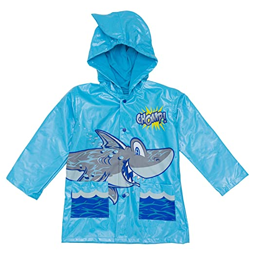 86022c1f8 Amazon.com: Shark in the Sea - Boy's Blue Rain Coat - Size 5: Clothing