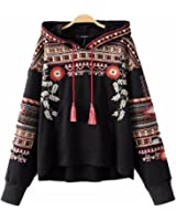 Alaimc Mando Vintage Totem Geometric Embroidery Hooded Sweatshirt Oversized Sequined Long Sleeve Pullover Casual Tops Sudaderas